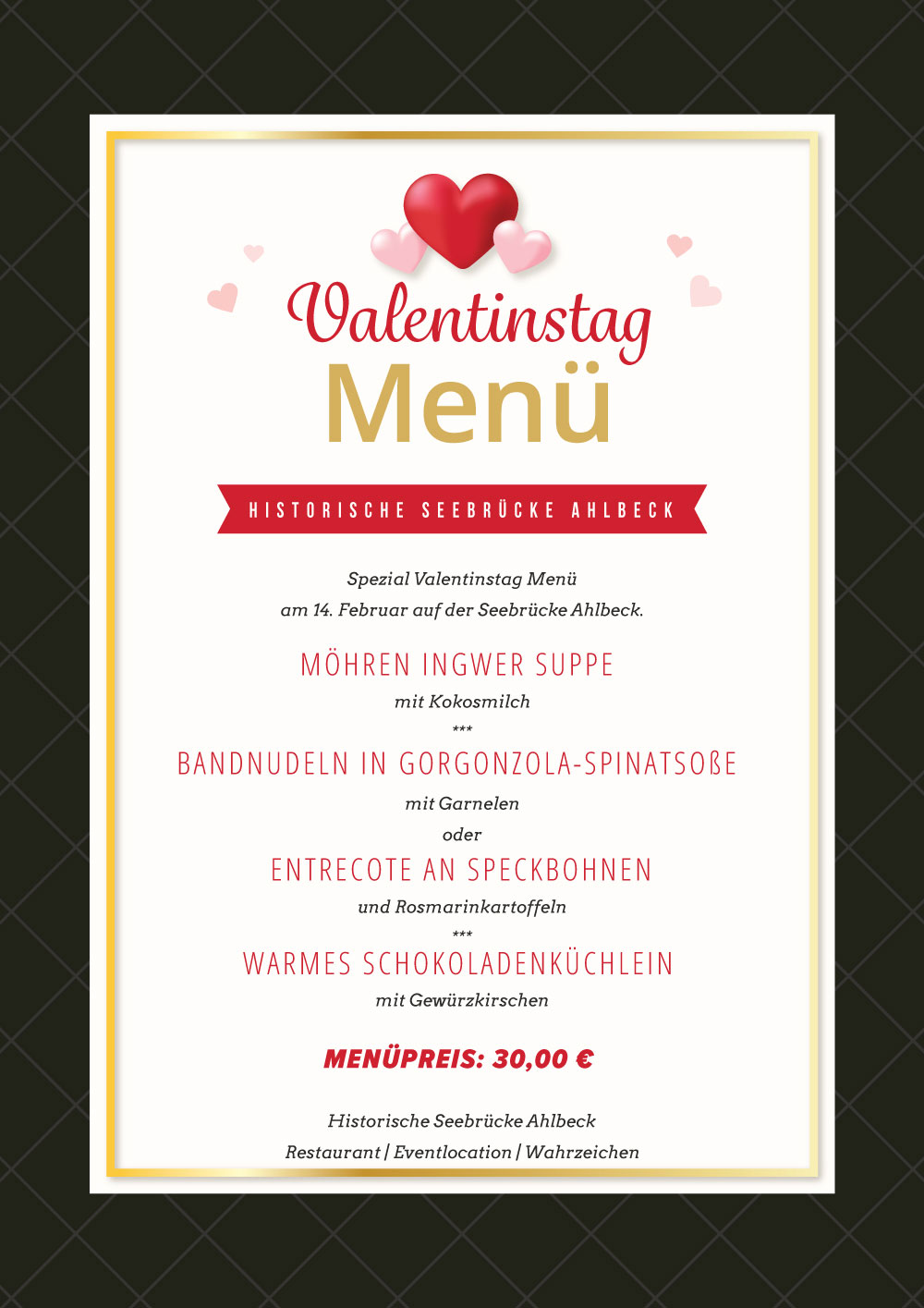 Valentinstag Menu Restaurant Und Bar Direkt An Der Ostsee