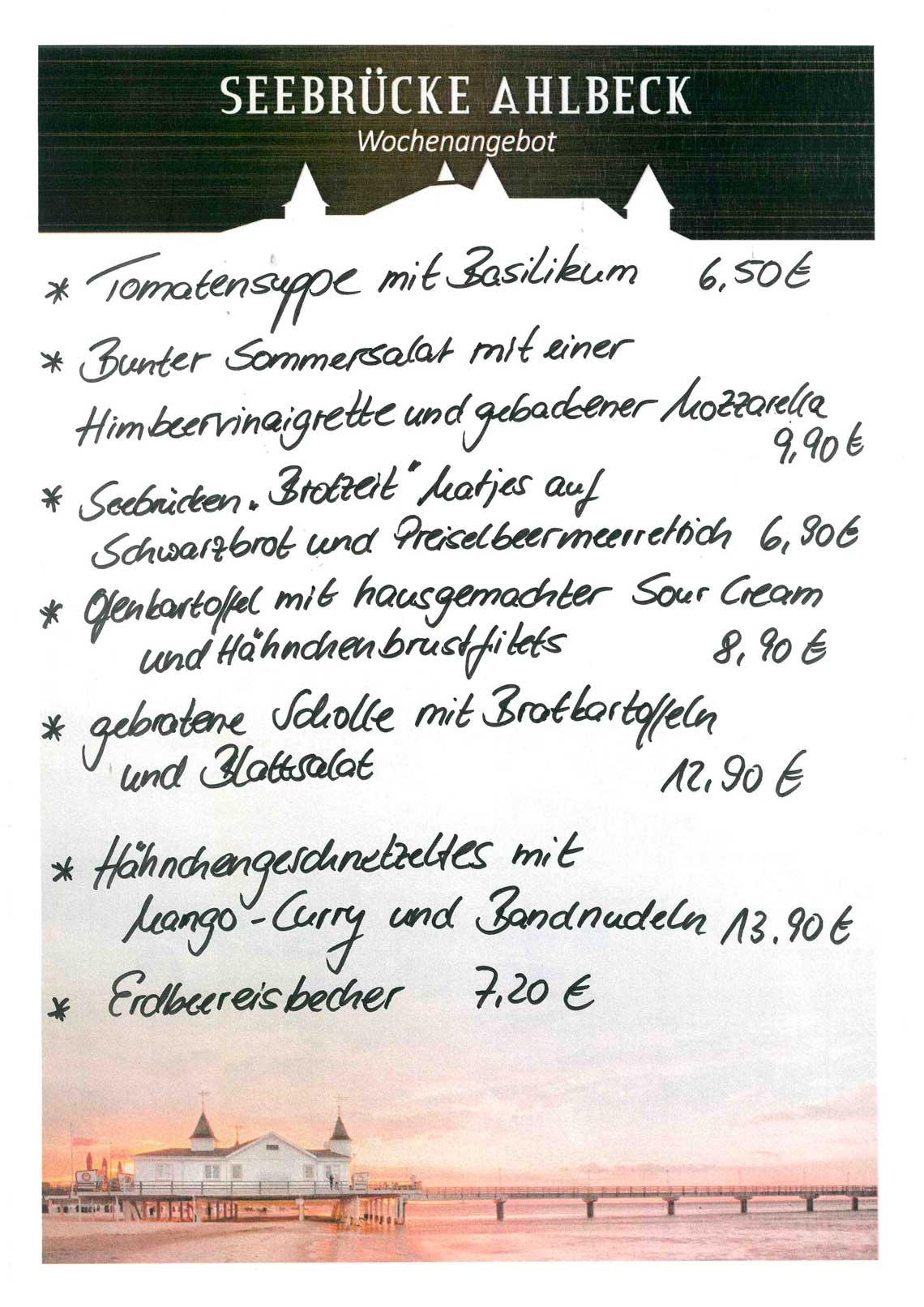 Seebrücke Ahlbeck Speisekarte - Restaurant und Bar direkt an der Ostsee
